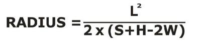 radius, Formula za izračunavanje radijusa skija